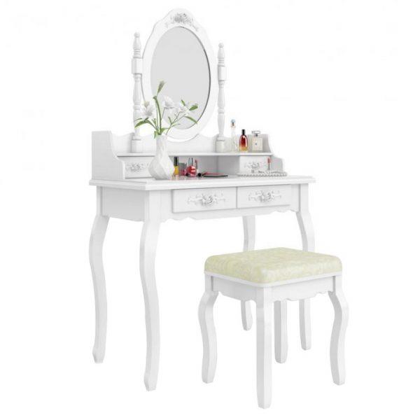 Obrazek produktu Toaletka Kosmetyczna Zestaw Toaletka+Lustro+Taboret