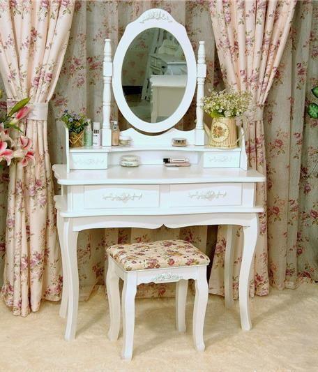 Toaletka kosmetyczna 90 cm lustro+taboret