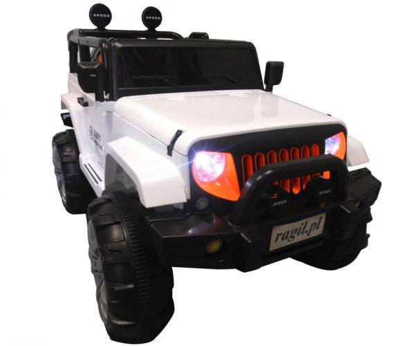 Duży Jeep X3 4×4 biały Miękki Fotelik Pilot 2.4G Wolny Start 7ah + Bujak