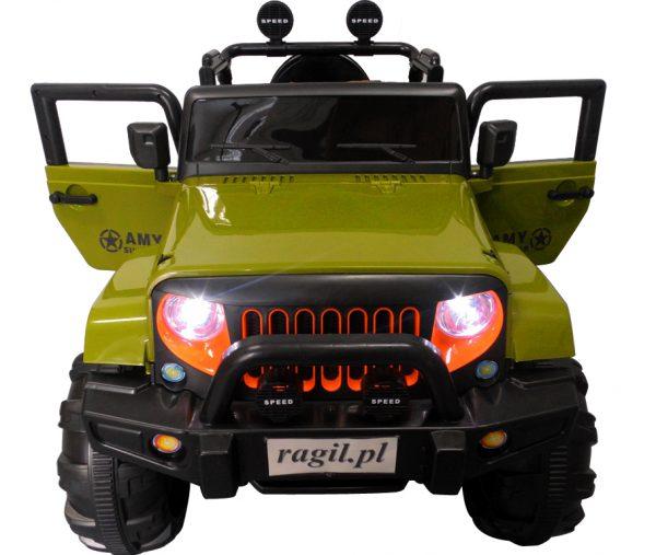 Duży Jeep X3 4×4 zielony Miękki Fotelik Pilot 2.4G Wolny Start 7ah + Bujak