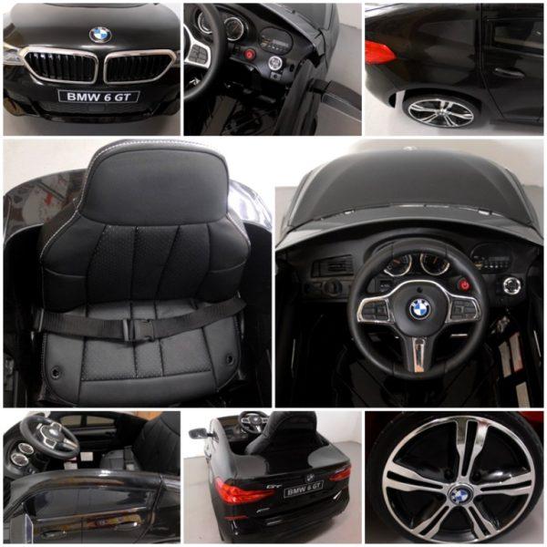 Obrazek produktu BMW 6GT czarny Miękkie koła Eva, miękki fotelik, Licencja, Autko na akumulator