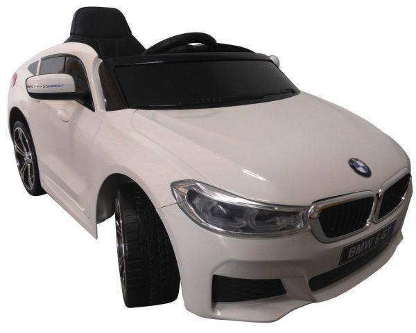 BMW 6GT Biały Miękkie koła Eva, miękki fotelik, Licencja, Autko na Akumulator