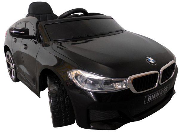 BMW 6GT czarny Miękkie koła Eva, miękki fotelik, Licencja, Autko na akumulator