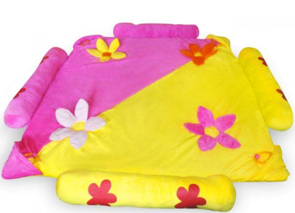 Obrazek produktu Pluszowa Mata Plac Zabaw Różowo-żółta 125X125