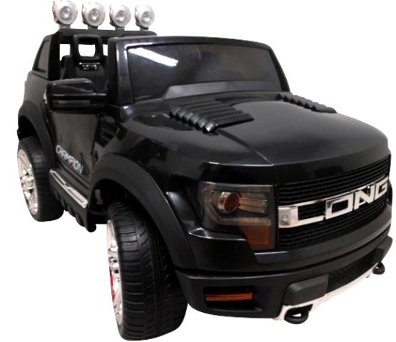 Cabrio LONG czarny, miękkie koła Eva, Duże Autko Na Akumulator