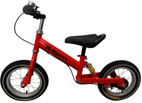 """Obrazek produktu Rowerek biegowy czerwony R2 R-Sport 12"""" hamulec, dzwonek"""