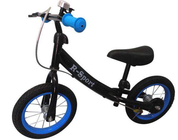 """Obrazek produktu Rowerek biegowy niebiesko-czarny R3 R-Sport 12"""" hamulec, dzwonek, lusterko"""