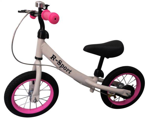 """Obrazek produktu Rowerek biegowy różowo-biały R3 R-Sport 12"""" hamulec, dzwonek, lusterko"""
