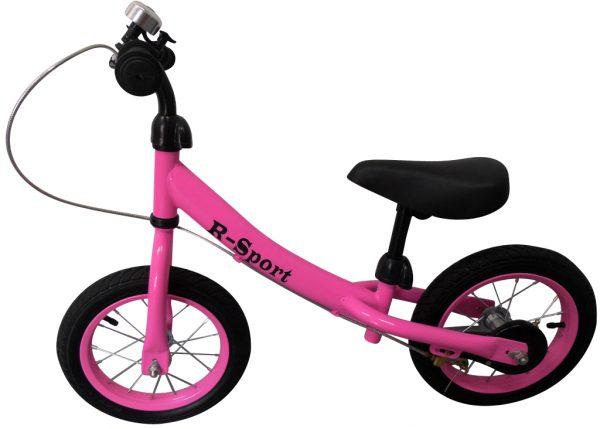 """Obrazek produktu Rowerek biegowy różowy R3 R-Sport 12"""" hamulec, dzwonek, lusterko"""