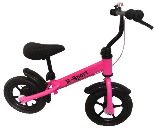 """Obrazek produktu Rowerek biegowy różowy R8 R-Sport 12"""" hamulec, dzwonek, lusterko"""