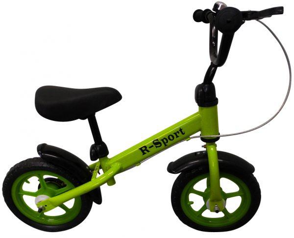 """Obrazek produktu Rowerek biegowy zielony R9 R-Sport 12"""" hamulec, dzwonek, lusterko"""