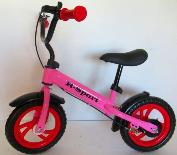 """Obrazek produktu Rowerek biegowy różowy R9F R-Sport 12"""" hamulec, dzwonek, lusterko"""