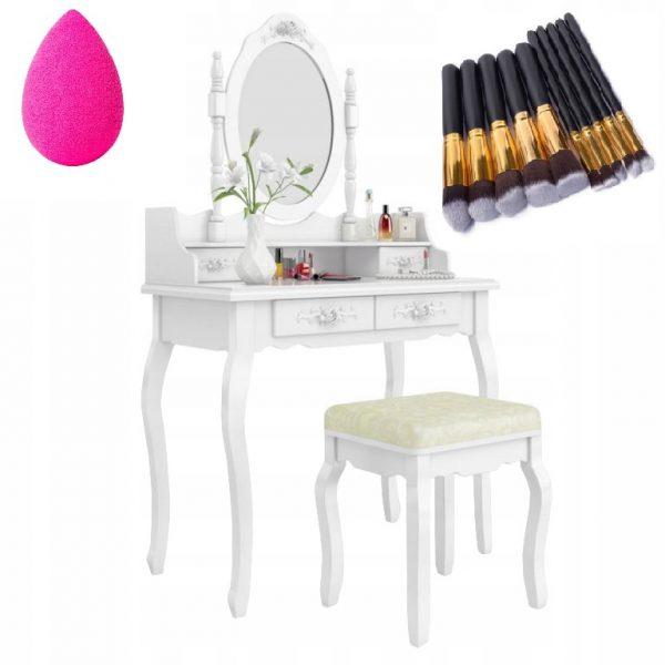 Toaletka Kosmetyczna Zestaw Toaletka+Lustro+Taboret