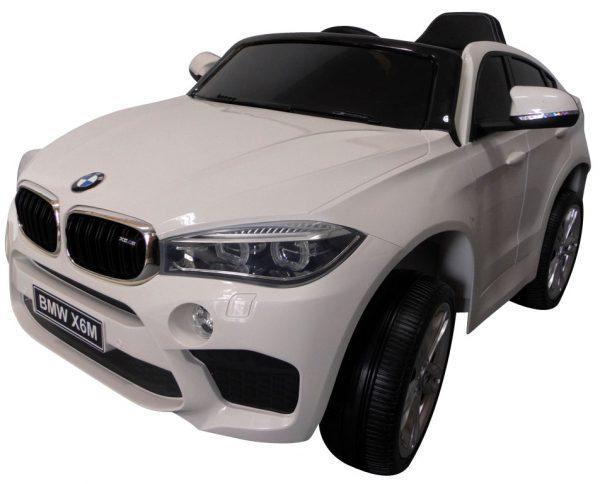 BMW X6M Biały Miękkie koła Eva, miękki fotelik, Licencja, Autko na akumulator