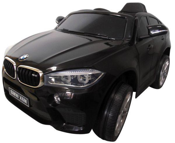 BMW X6M czarny Miękkie koła Eva, miękki fotelik, Licencja, Autko na Akumulator