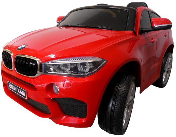 BMW X6M czerwony Miękkie koła Eva, miękki fotelik, Licencja, Autko na akumulator