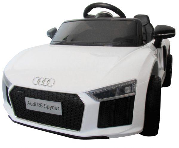 AUDI R8 Spyder Biały, Miękkie koła Eva, miękki fotelik Licencja, Autko na akumulator