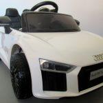 Obrazek produktu AUDI R8 Spyder Biały, Miękkie koła Eva, miękki fotelik Licencja, Autko na akumulator