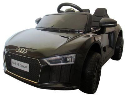 AUDI R8 Spyder Czarny, Miękkie koła Eva, miękki fotelik Licencja, Autko na akumulator