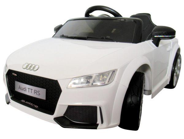 AUDI TT Biały, Miękkie koła Eva, miękki fotelik Licencja, Autko na akumulator dla dzieci