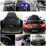 Obrazek produktu Mercedes GTR czarny Miękkie koła Eva, miękki fotelik Licencja