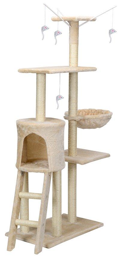 Drapak dla kota XL Beżowy z zabawkami