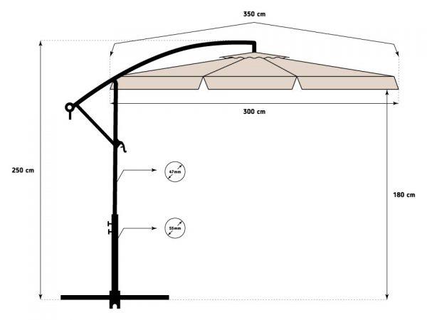 Obrazek produktu Parasol Ogrodowy na wysięgniku bocznym, składany Beżowy