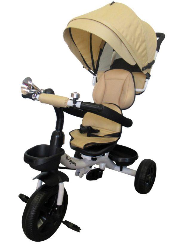Rowerek Trójkołowy T4 beżowy Obracany 360 stopni Koła EVA