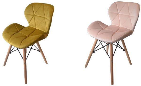 Krzesła Skandynawskie 4x Krzesło DSW tapicerowane WELUROWE