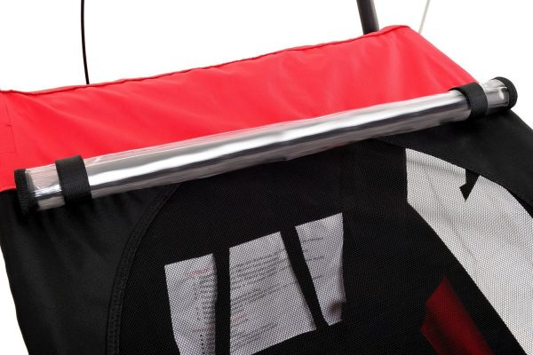 Obrazek produktu Przyczepka rowerowa 2-osobowa z Amortyzatorem + JOGGER czerwona