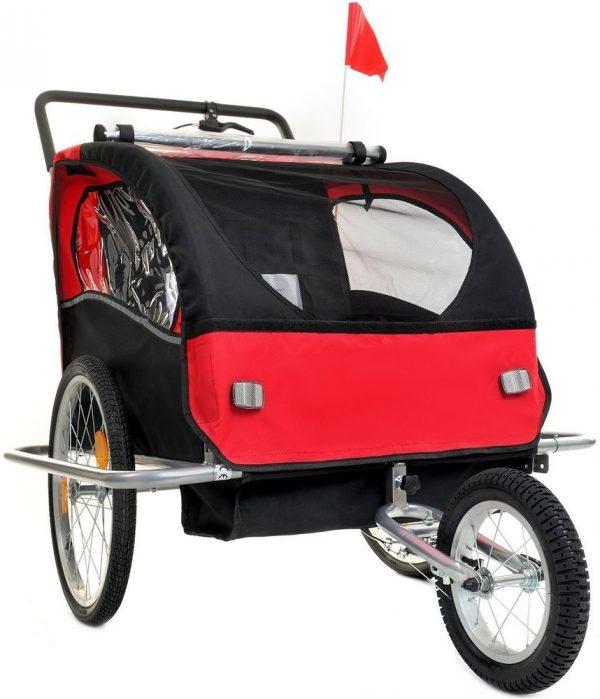 Przyczepka rowerowa 2-osobowa z Amortyzatorem + JOGGER czerwona