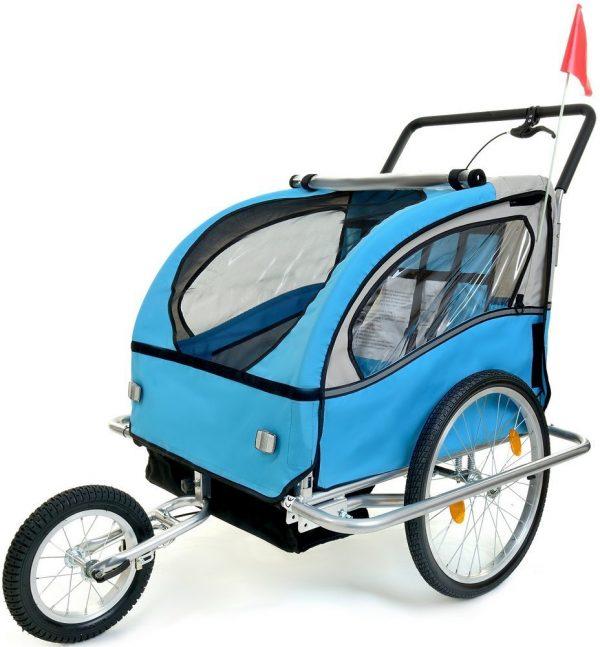 Przyczepka rowerowa 2-osobowa z Amortyzatorem + JOGGER niebieska