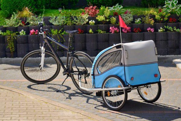 Obrazek produktu Przyczepka rowerowa 2-osobowa z Amortyzatorem + JOGGER niebieska