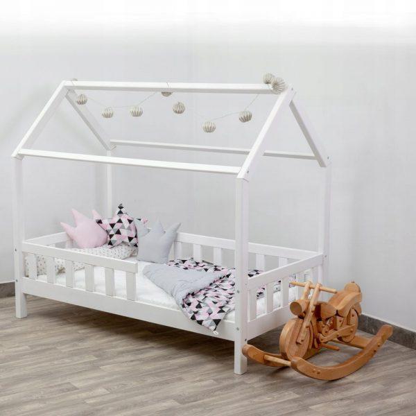 Łóżko dziecięce DOMEK Biały Barierka Stelaż