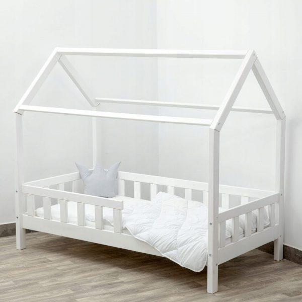 Obrazek produktu Łóżko dziecięce DOMEK Biały Barierka Stelaż