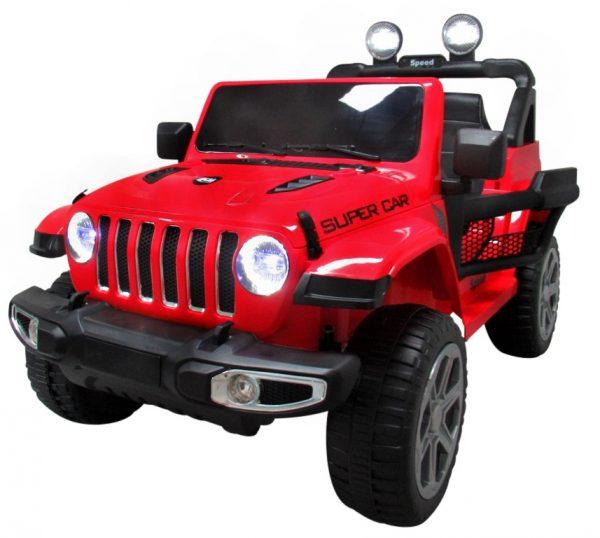 Duży Jeep x4 4×4 czerwony 12V 7ah Miękki Fotelik + Bujak