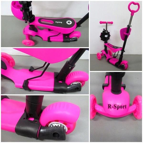 Obrazek produktu Hulajnoga Biedronka Różowa 5w1 Świecące koła LED